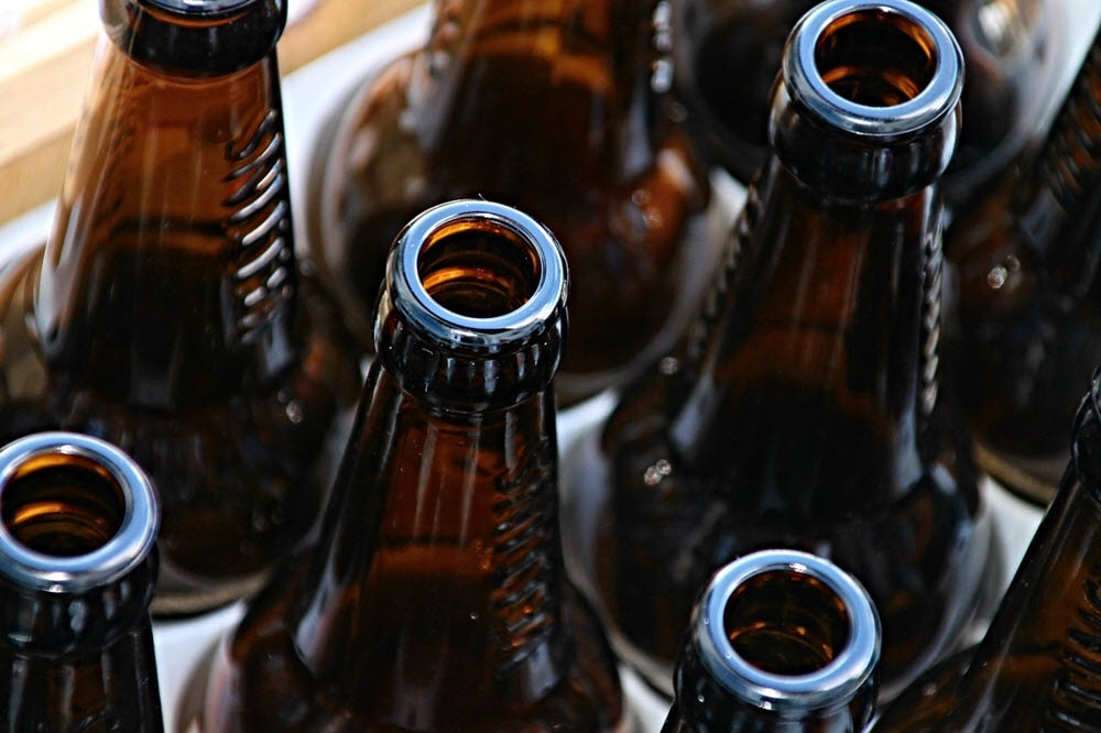 Brown glass beer bottles